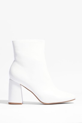 Nasty Gal Womens Big for Your Faux Leather Heeled Boots - White