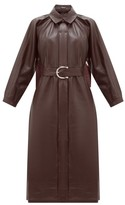 Dodo Bar Or Berry Belted Leather Dress - Womens - Dark Red