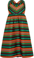 DELPOZO Strapless Striped Jacquard Dress - Green