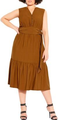 City Chic Next Level Belted Midi Dress