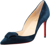 Christian Louboutin Philaer Suede Red Sole Pump, Blue Kohl