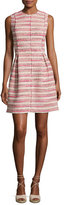 Rebecca Taylor Sleeveless Optic Tweed Mini Dress, Pink-Multi