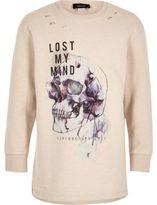 River Island Boys cream skull print distressed sweatshirt