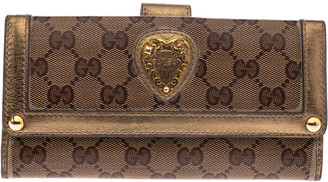 Gucci Beige/Metallic GG Crystal Canvas and Leather Heart Bifold Continental Wallet