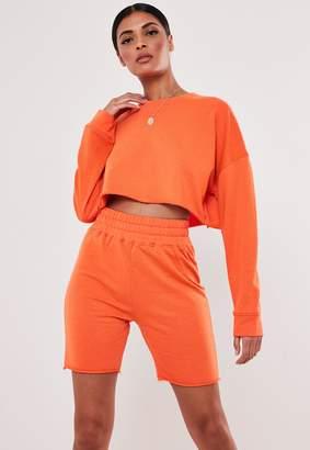 Missguided Orange Cropped Sweatshirt And Shorts Co Ord Set