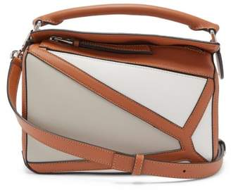 Loewe Puzzle Small Grained-leather Cross-body Bag - Womens - Cream Multi
