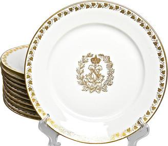 One Kings Lane Vintage 19th-C. Napoleon III Sevres Plates - Set of 11 - Portfolio No.6 - white/gold
