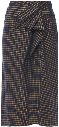 Ulla Johnson Draped Checked Cotton And Lurex-blend Skirt