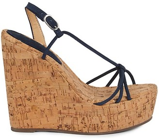 Schutz Cassia Leather Cork Platform Wedge Sandals