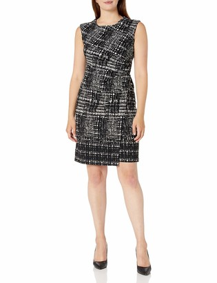 Sandra Darren Women's 1 PC Extended Shoulder Multi Twill Sheath Dress Black/White 14