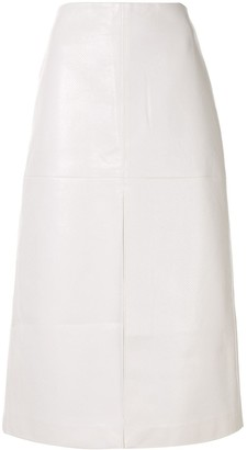 we11done Python Print Faux Leather Front Slit Skirt