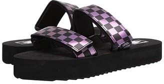 Vans Cayucas Slide Mega Platform ((Iridescent) Checker/Black) Women's Shoes