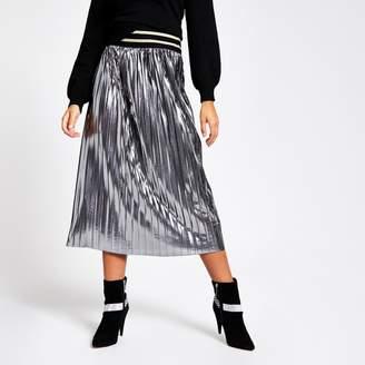 River Island Womens Silver metallic pleated midi skirt