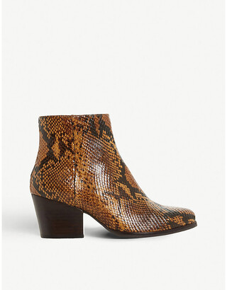 Bertie Poket snake-embossed leather ankle boots