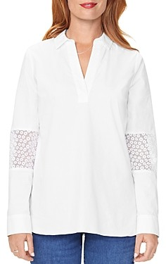 NYDJ Floral-Panel Popover Tunic Top