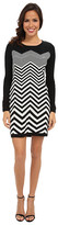 London Times Long Sleeve Chevron Front Sheath