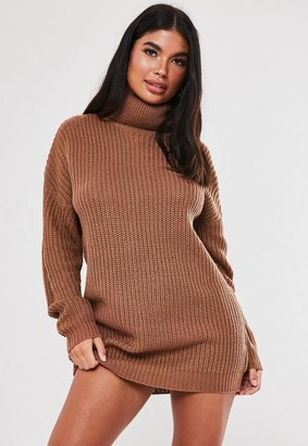 Missguided Tall Mocha Basic Turtle Neck Sweater Dress