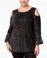 Alfani Plus Size Metallic Cold-Shoulder Top, Only at Macy's