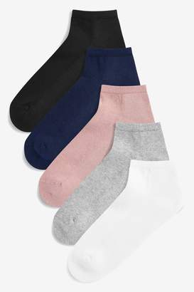 Next Womens Multi Cushion Sole Trainer Socks Five Pack - Black
