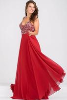 Jovani Beaded Bodice Open Back Chiffon Dress JVN33701
