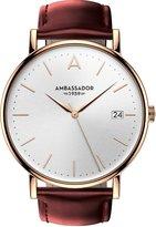 Ambassador Heritage 1959 Gold Case with Burgundy Leather Strap Men's Watch