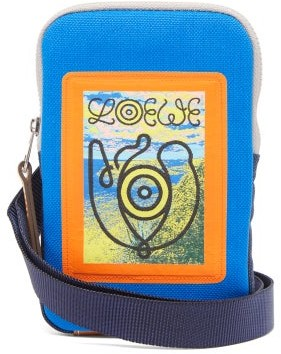 eye/LOEWE/nature Logo-jacquard Canvas Crossbody Bag - Blue