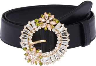 Miu Miu Crystal-Embellished Buckle Belt