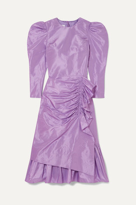 pushBUTTON Ruched Ruffled Silk-taffeta Midi Dress - Purple