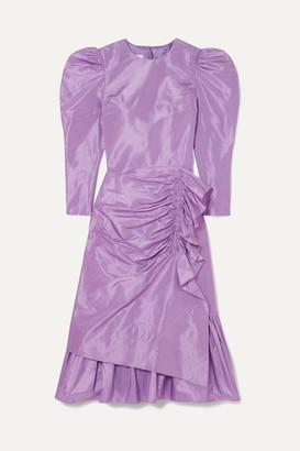 pushBUTTON Ruched Ruffled Silk-taffeta Midi Dress