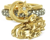 Roberto Cavalli Circus Golden Metal Ring w/Crystals