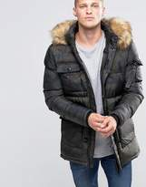 SikSilk Padded Parka Jacket With Faux Fur Hood