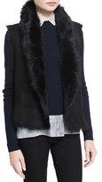 Joseph Lucy Shearling Fur Button-Front Vest
