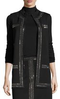 St. John Milano Knit Mandarin-Collar Sequined Vest, Black