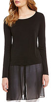 Eileen Fisher Ballet Neck Long Sleeve Double Layered Silk Jersey Tunic