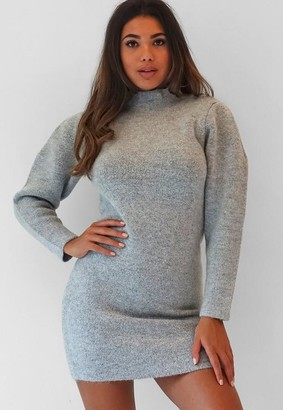 Missguided Gray Marl High Neck Knit Pleat Mini Dress