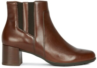 Geox New Annya Leather Ankle Boots with Block Heel
