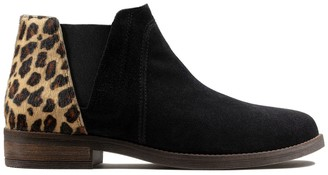 Clarks Demi Beat Suede Chelsea Ankle Boots in Leopard Print