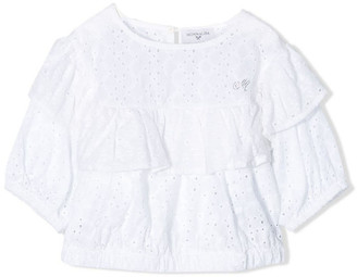 MonnaLisa White Cotton Perforated Frill Blouse