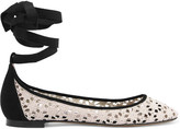 Tabitha Simmons Daria Daisy Lace-up Suede-trimmed Crocheted Ballet Flats - Off-white