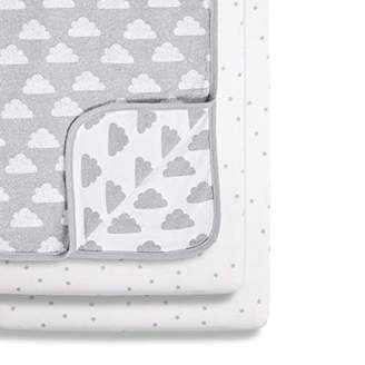 Snuz 3-Piece Bedside Crib Bedding Set, Cloud, Grey/White, 580 g