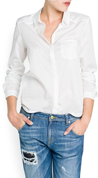 MANGO Embroidered detail cotton shirt
