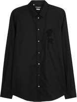 Dolce & Gabbana Black Rose-appliquéd Cotton Shirt