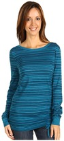 Three Dots L/S Variegated Stripe British Tee (Pacific Teal) - Apparel