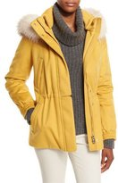 Loro Piana Storm System Fox-Trim Cashmere Coat, Lemon Cream