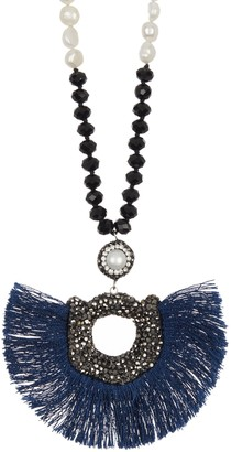 """ADORNIA 34"""" Long Black Spinel and 7mm Freshwater Pearl Necklace with Peacock Style Druzy Pendant"""