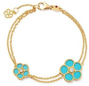 Roberto Coin 18K Yellow Gold Daisy Diamond & Turquoise Bracelet - 100% Exclusive