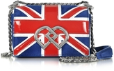 DSQUARED2 DD British Flag Suede & Patent Leather Mini Shoulder Bag