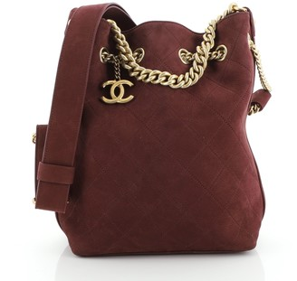 Chanel On My Shoulder Drawstring Bag Quilted Nubuck Small