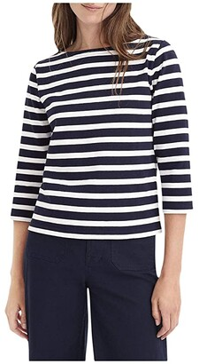 J.Crew Structured Boatneck T-Shirt in Stripe (Icon Stripe Navy/Ivory) Women's Clothing