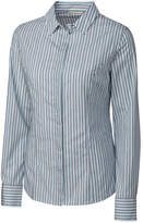 Cutter & Buck Blue & Gray Pinstripe Broken Twill Button-Up - Plus Too